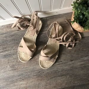 ASOS   Tan Suede Ankle Wrap Sandals